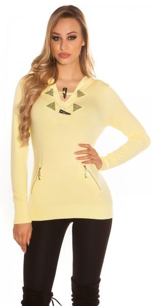 Sexy KouCla Pullover mit Reißverschluss und Strass
