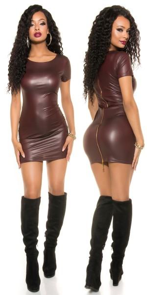 Sexy KouCla Wetlook Minikleid mit Zip kurzarm