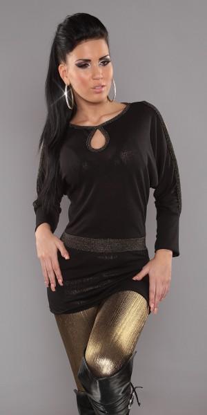 Sexy Feinstrick-Shirt mit Glitzer-Borte