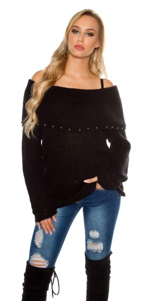 Trendy Mohair Pullover mit Carmenausschnitt
