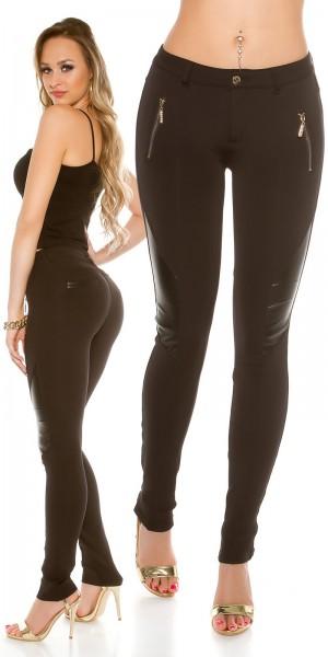 Sexy Treggings mit Lederlook und Zips