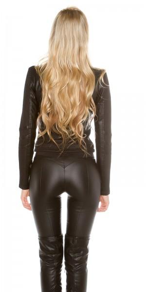 Sexy Lederlook Jacke mit Netzapplikationen
