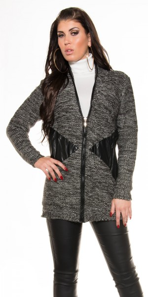 Trendy Grobstrickjacke + Zip+ Lederlookaplikation
