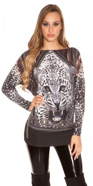Sexy KouCla Pullover mit Leopardenprint