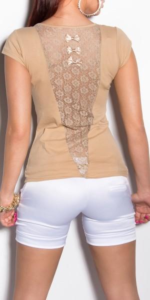Sexy KouCla Shirt mit Schleifen und Spitze