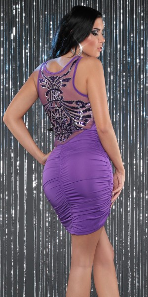 Sexy Partykleid, hinten transparant m. Pailletten