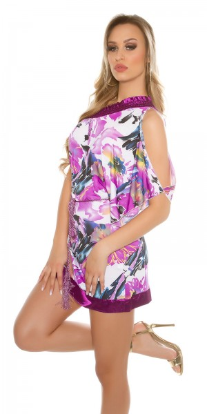 Sexy One-Arm-Minikleid mit Blumenprint