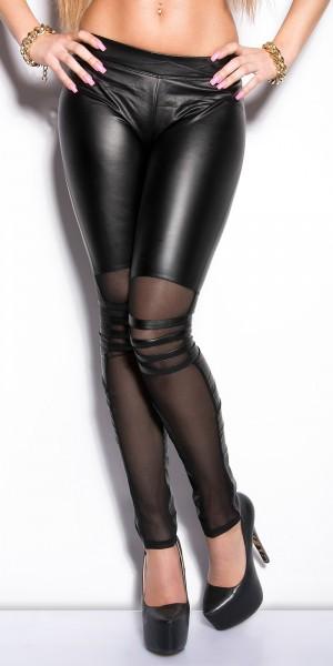 Sexy KouCla Leggings mit Netzeinsätzen