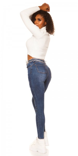 Sexy High Waist Skinny Jeans Used Look m. Print