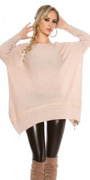 Trendy KouCla Oversize Pulli mit Spitze und Zips