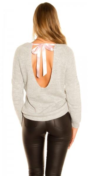 Trendy KouCla Strickpulli mit sexy Rücken