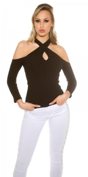Sexy Cold Shoulder Neck Ripp Pulli