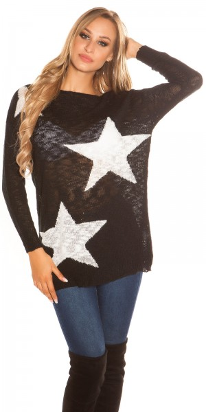 Sexy KouCla Oversize-Pulli mit Sternen-Print
