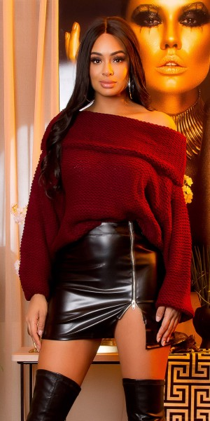 Trendy KouCla XL-Kragen GrobstrickOversizePullover