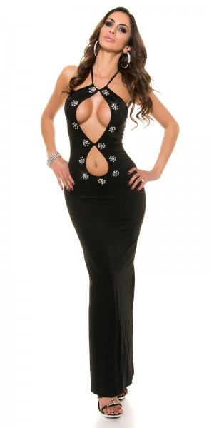 Sexy Kleid lang mit Strassteinen rückenfrei