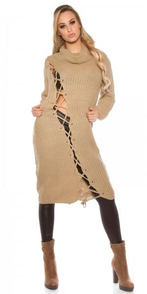 Trendy KouCla Grobstrick Kleid mit XL Kragen
