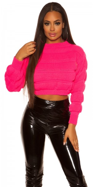 Sexy Crop Grobstrick Pullover
