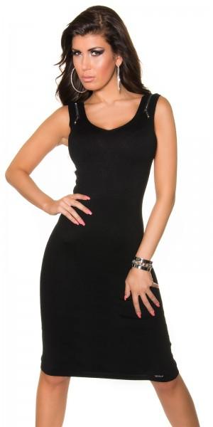 Sexy Koucla Feinstrick-Kleid mit Reißverschluss