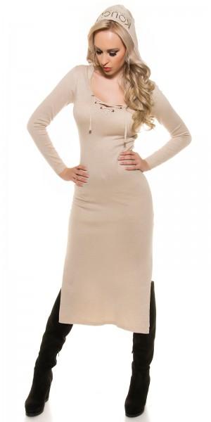 Trendy KouCla Feinstrick-kleid mit Schnürrung