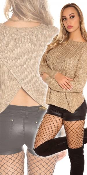 Trendy KouCla Glitzerpulli mit sexy Rücken