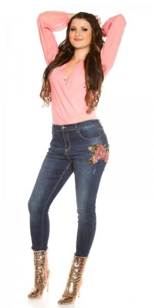 Curvy Girls Size! Trendy Jeans mit Pailletten