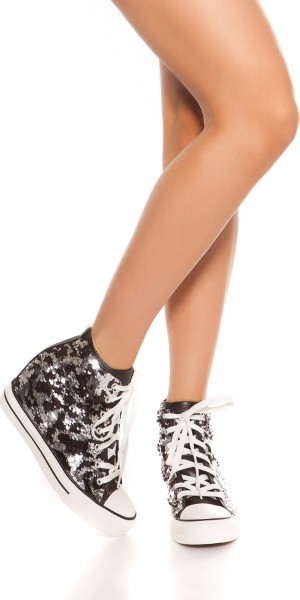 Trendy Chucks Style Sneaker mit Pailletten & Keil
