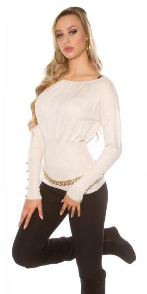 Sexy KouCla Pullover mit Knöpfen und Schleifen