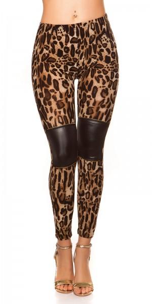 Sexy Leggings im Leolook mit Lederlook und Zips