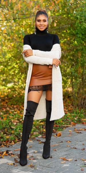Trendy Koucla Long-Strickjacke mit Taschen