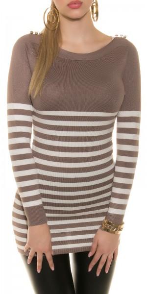 Sexy KouCla Pullover/Kleid gestreift mit Knöpfen
