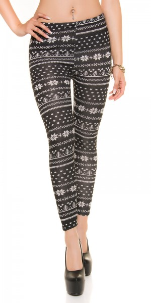 Trendy flauschige Leggings im Norweger Design