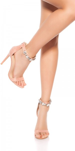 Sexy High Heel Sandalette mit Strass-Riemchen