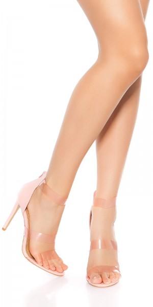 Sexy High Heel Sandaletten m. Plastikriemchen