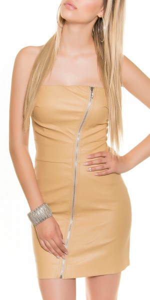 Sexy Bandeau-Minikleid mit Asymm.Zipp im Lederlook